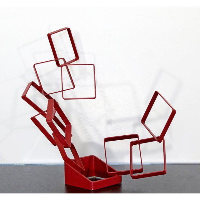 Abstract 1990s Contemporary Red Metal Abstract Table Sculpture Signed Cynthia McKean For Sale - Image 3 of 12
