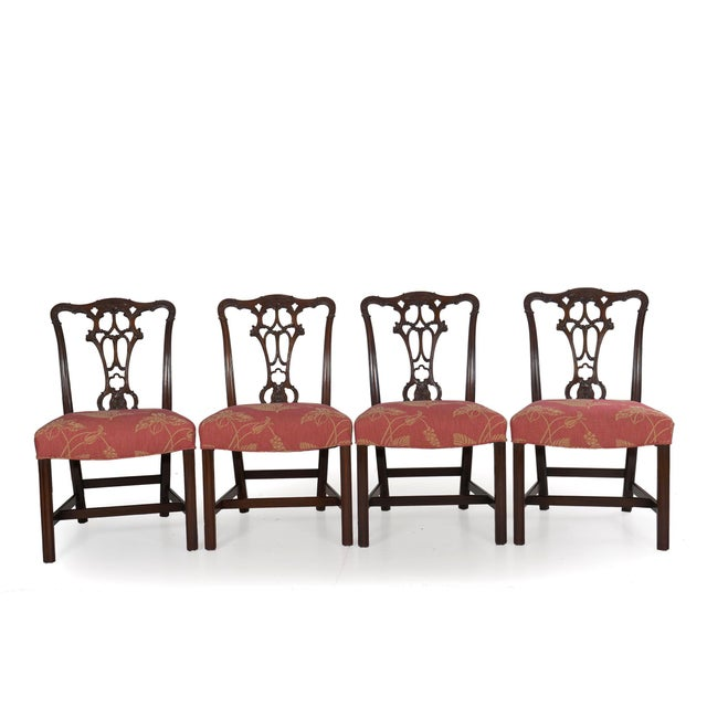 20th Century English Antique Carved Mahogany Dining Chairs - Set of 6 For Sale - Image 6 of 13