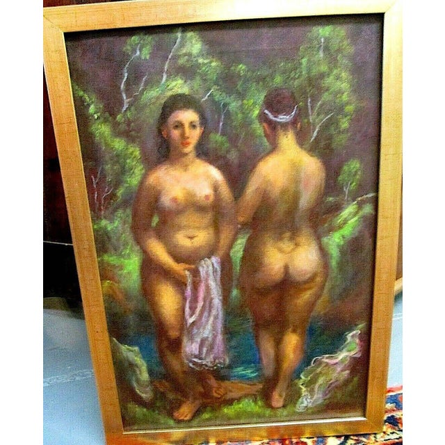 "Original Vintage Signed Mid 20th C. Oil/Canvas-""Nude Bathers""--Indiana Artist Harry Davis For Sale In Cincinnati - Image 6 of 6"
