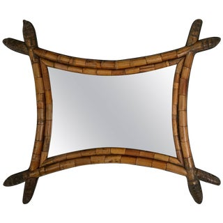 Unusual Asian Style Bamboo Mirror For Sale