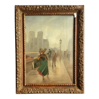 Vintage Original French Painting For Sale
