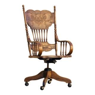 Antique Pressed Back Oak Steno Chair For Sale