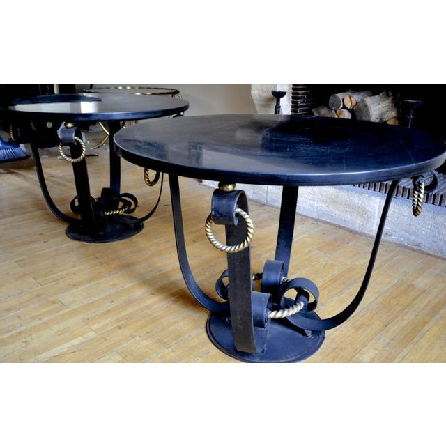 Raymond Subes Pair of Wrought Iron & Marble Top Coffee Table.