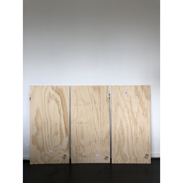Wood Black and White Run on Abstract Triptych Painting For Sale - Image 7 of 9
