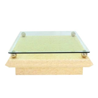 Glass Top Horn Tile Square Coffee Table For Sale