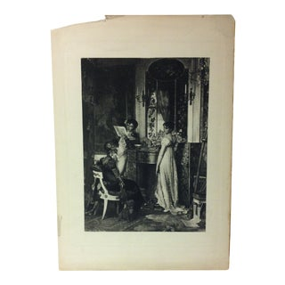 "Vintage Print on Paper, ""Discussion"" by Carl Holt, Circa 1900 For Sale"