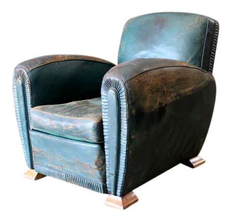 Delicieux 1930s Art Deco Green Leather Club Chair