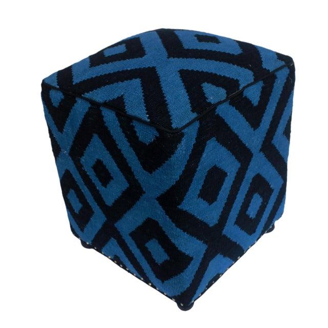 Shabby Chic Arshs Deloris Lt. Teal/Black Kilim Upholstered Handmade Ottoman For Sale