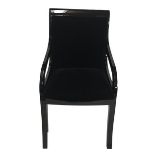 High Gloss Ebonized With Mohair Dining Chair For Sale