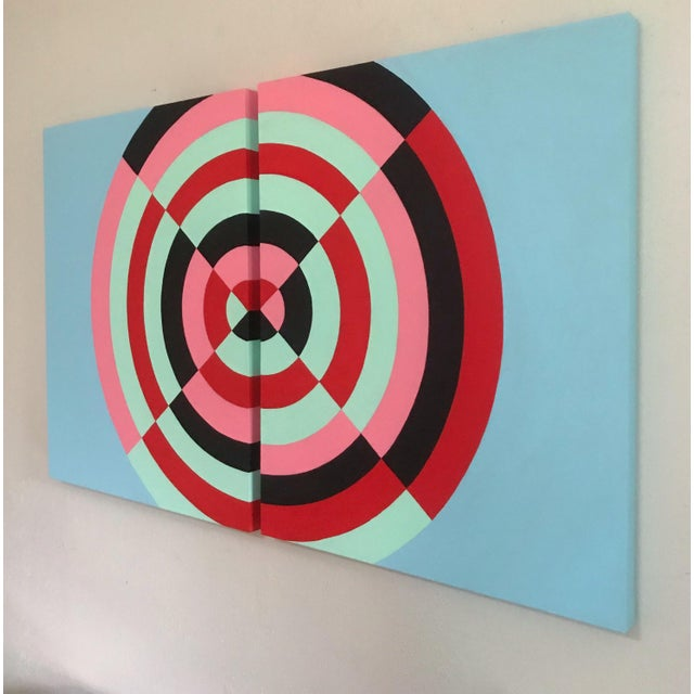 2010s Colorful Abstract Hard Edge Op-Art Original Painting on Canvas by J. Marquis, a Pair For Sale - Image 5 of 5