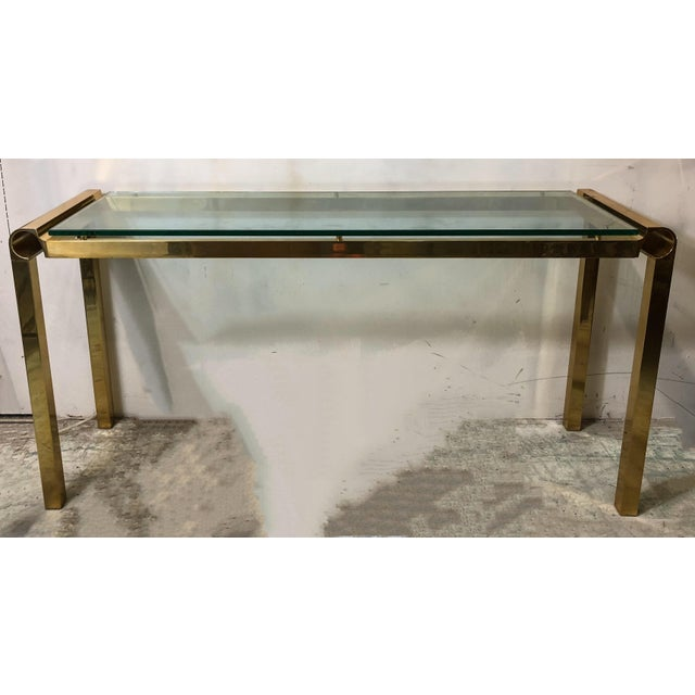 Mid-Century Modern Brass & Glass Console Table - Image 4 of 4