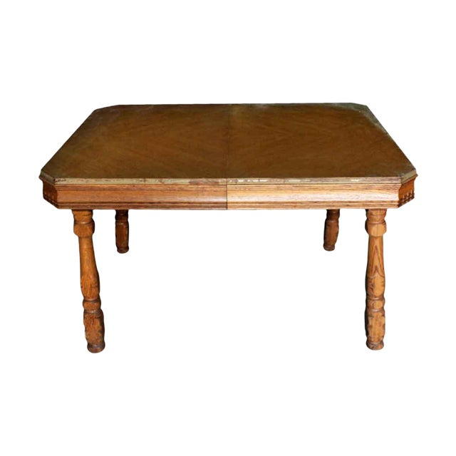 20th Century Traditional Square Oak Table For Sale