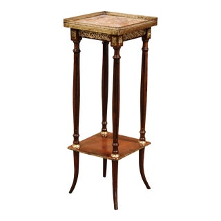 19th Century French Napoleon III Walnut and Brass Étagère With Red Marble Top For Sale