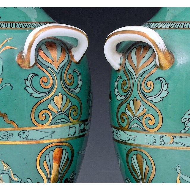 Mid 19th Century English Porcelain Neoclassical Jade Green-Ground Vases - a Pair For Sale - Image 5 of 8