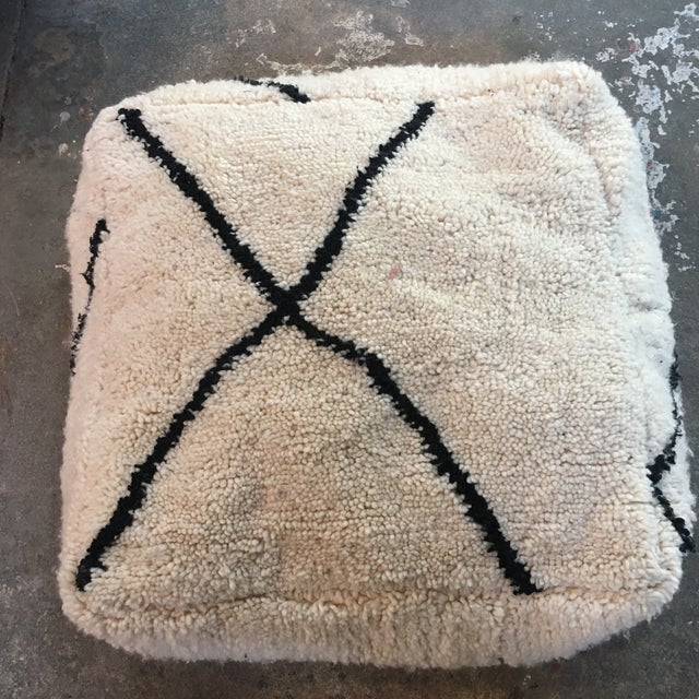 Cream & Black Moroccan Boho Chic Floor Pouf - Image 2 of 4