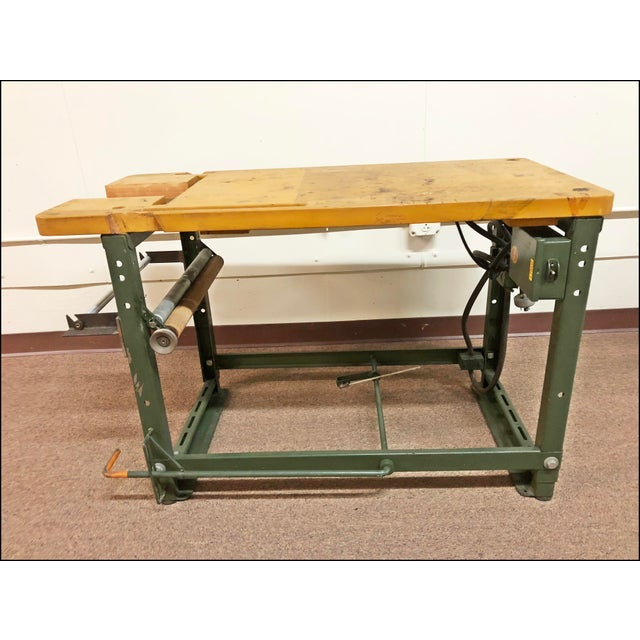 Vintage Industrial Sewing Table With Green Metal Base Chairish - Metal base picnic table