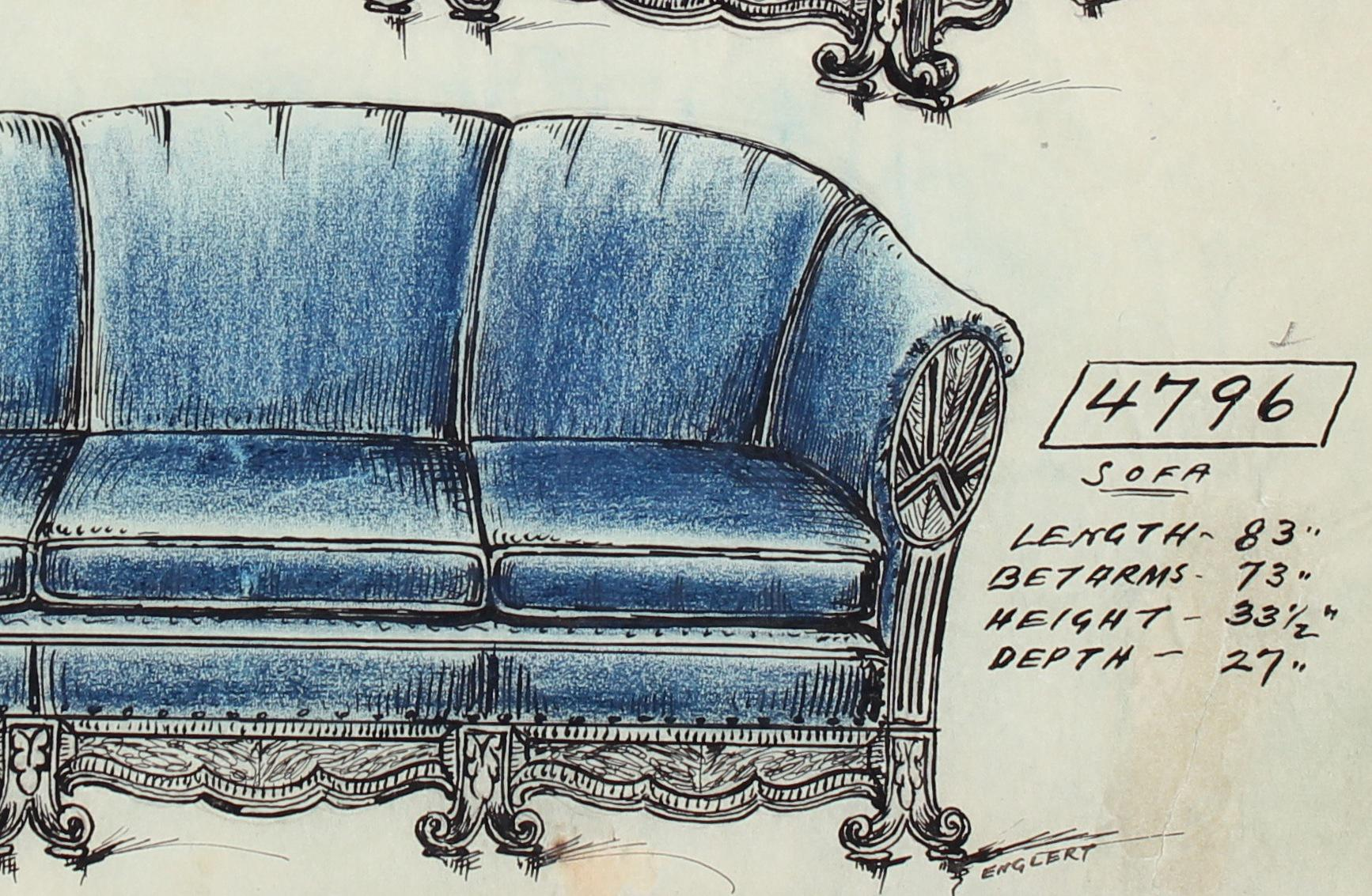Superbe Art Deco Early 20th Century Blue Sofa Design In Ink And Pastel Drawing For  Sale