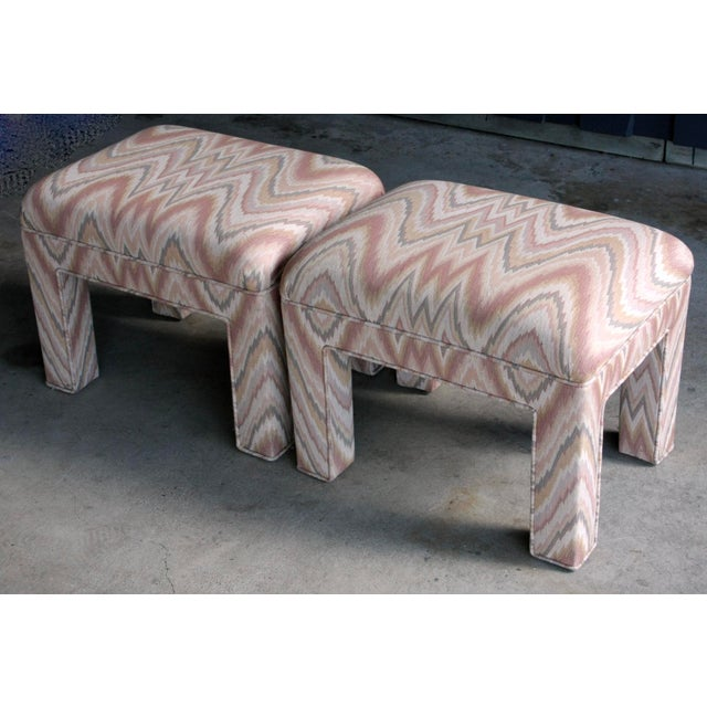 1980s Contemporary Flamestitch Parsons Ottomans, a Pair For Sale - Image 10 of 10