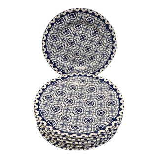 Blue & White Ceramic Lunch Plates- Set of 8 For Sale