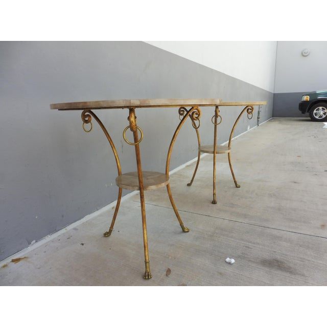 Parcel Gilt Wrought Iron and Goat Skin Tables - a Pair For Sale - Image 9 of 13