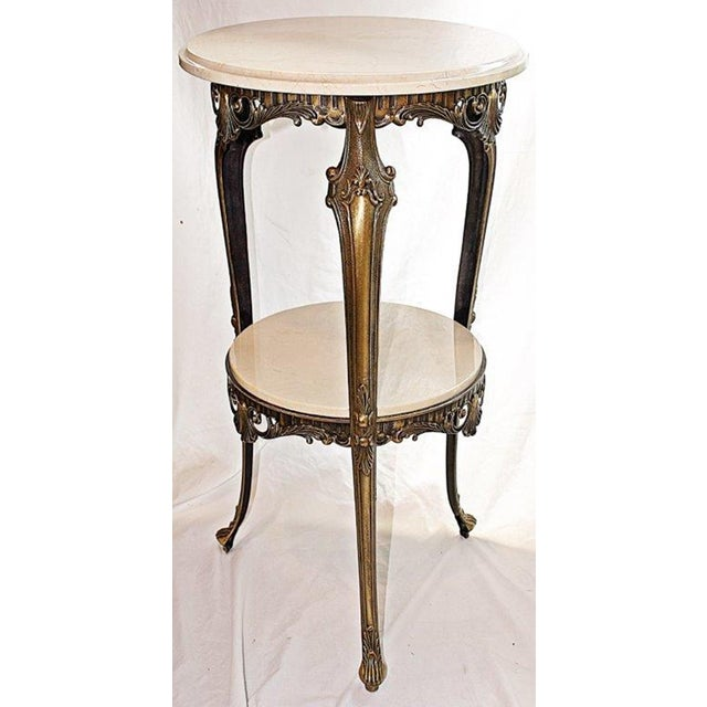 Italian Bronze & Marble Side Table - Image 2 of 6