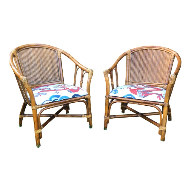 Carleton Varney Fabric Upholstered Bamboo Arm Chairs - a Pair For Sale