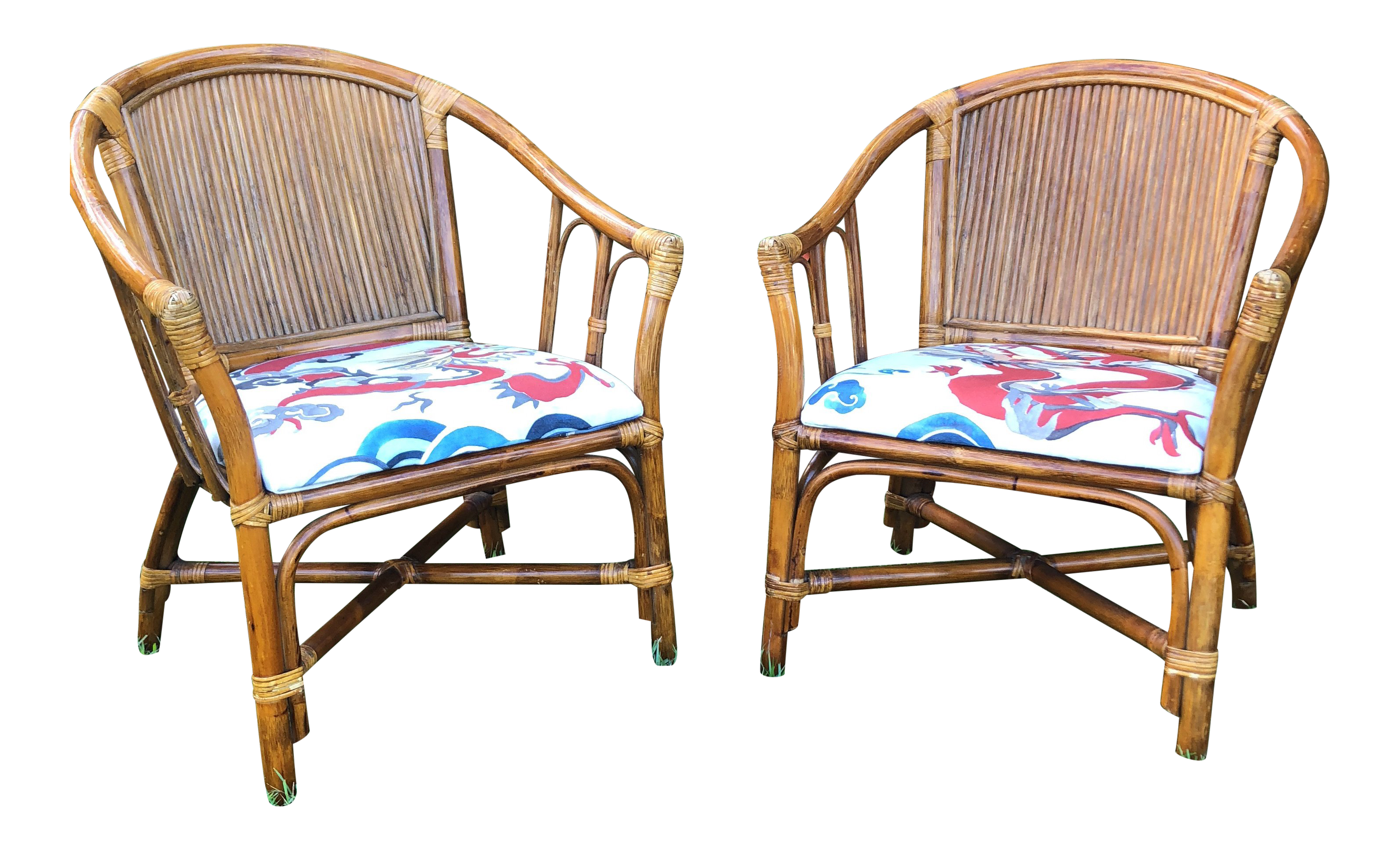 Merveilleux Carleton Varney Fabric Upholstered Bamboo Arm Chairs   A Pair For Sale