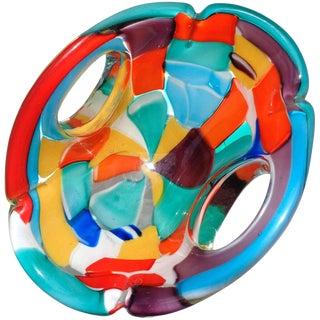 Murano Rainbow Forato Pezzato Italian Art Glass Centrepiece Bowl For Sale