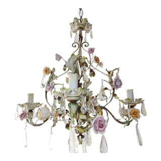 French Porcelain Flowers Tole and Crystal Prisms Chandelier For Sale