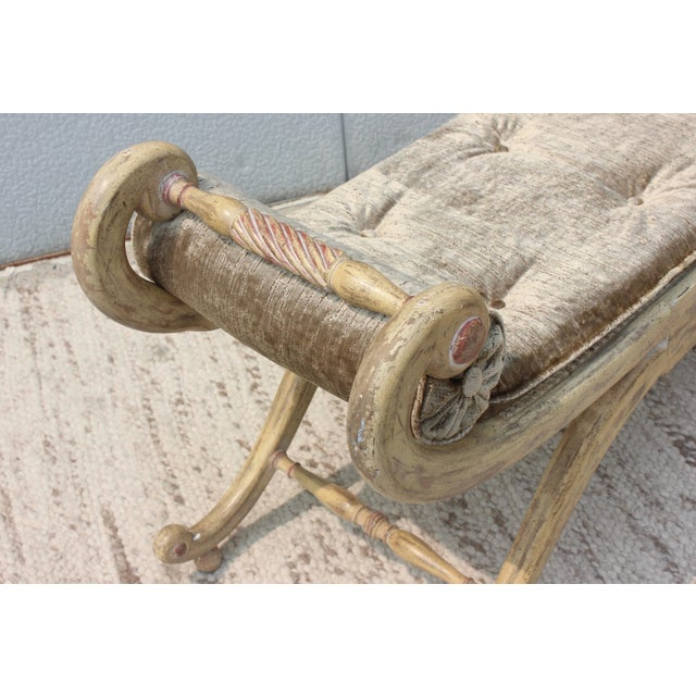 1940s French Scroll Arm Bench For Sale - Image 11 of 13