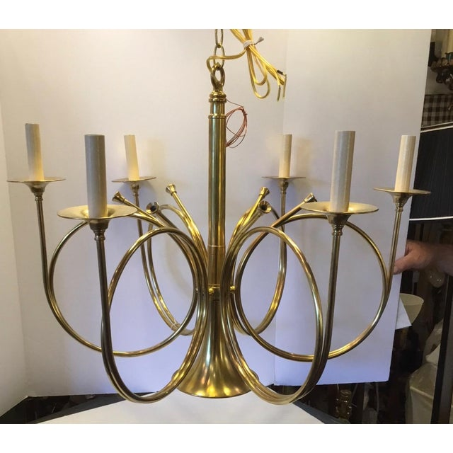 French Vintage Frederick Cooper French Horn Chandelier For Sale - Image 3 of 9