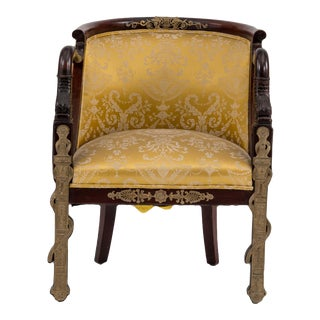 French Empire Mahogany Arm Chair For Sale