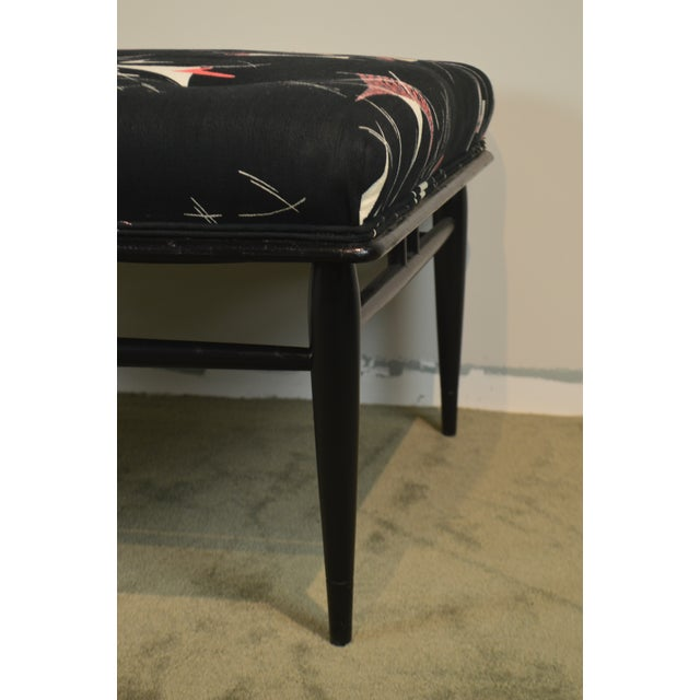 """Mid Century Modern 32"""" Square Black Ottoman For Sale - Image 4 of 13"""