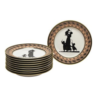 Mottahedeh Silhouette Dessert Plates - Set of 10 For Sale