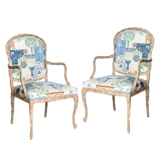 Faux Bois White Washed Wood Chairs & Upholstered in Blue & White, A-Pair For Sale