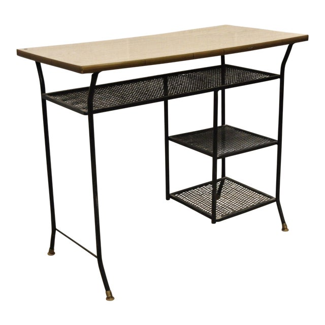 Vintage Mid-Century Modern Wrought Iron & Metal Mesh Small Writing Desk Work Table For Sale