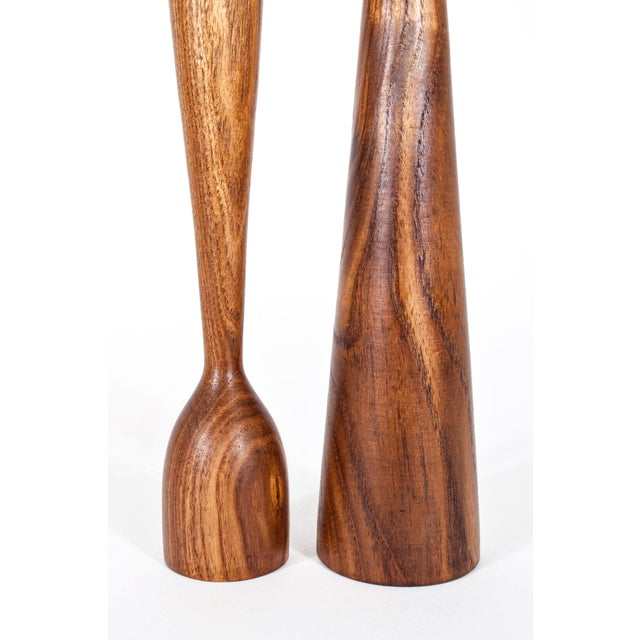 Danish Mid Century Teak Candle Holders - a Pair For Sale In New York - Image 6 of 7