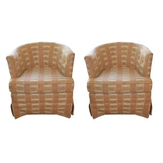 1970s Mid Century Modern Milo Baughman Style Barrel Back Chairs - a Pair For Sale
