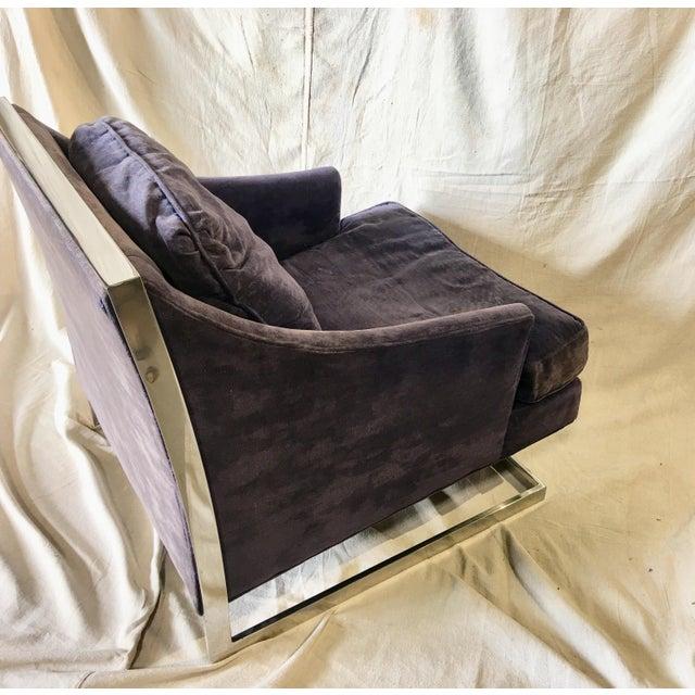 Mid-Century Modern 1970s Vintage Bernhardt Flair Chrome Frame Club Chair For Sale - Image 3 of 8