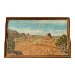 Vintage Mid Century Southwestern Desert Landscape Painting by Thel Benson For Sale