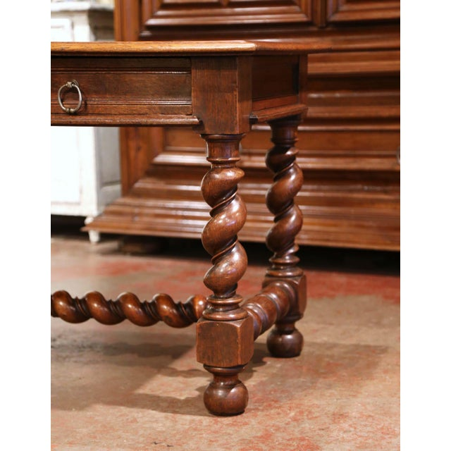 French 19th Century French Louis XIII Carved Oak Barley Twist Table Desk For Sale - Image 3 of 13