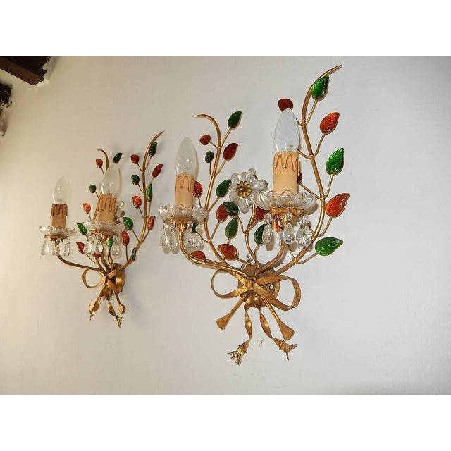 French Maison Bagues Style Colored Floral Beaded Sconces For Sale - Image 10 of 10
