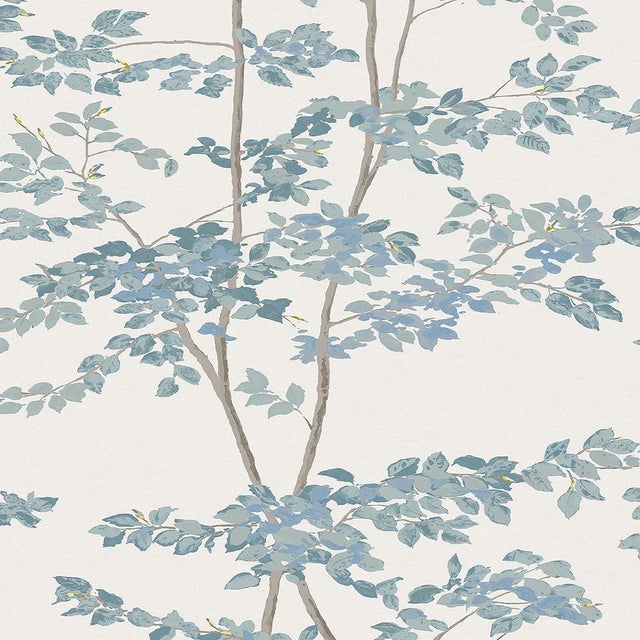"Lewis & Wood Beech Bluegrass Extra Wide 52"" Botanic Style Wallpaper - 1 Yard For Sale"