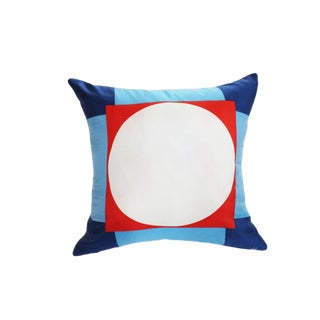 Contemporary Vintage Silk Scarf Dice Pillow – 20ʺw × 20ʺh For Sale