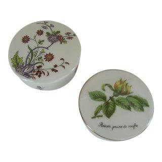 Vintage Round Limoges Porcelain Flower Boxes - a Pair For Sale