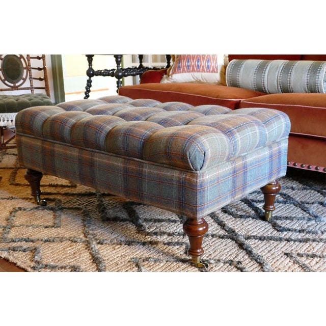 Custom Rogers & Goffigon-fabric Tufted Storage Ottoman For Sale - Image 5 of 5