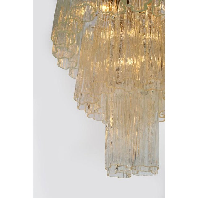 Camer 3 Tiered Tronchi Tube Murano Glass Chandelier For Sale In New York - Image 6 of 7