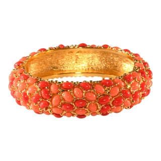 Kenneth Jay Lane Coral Glass Cabochon Hinged Bangle Bracelet For Sale