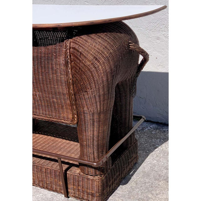 Mid 20th Century 1960s Chinese Export Wicker Elephant Dry Bar For Sale - Image 5 of 13
