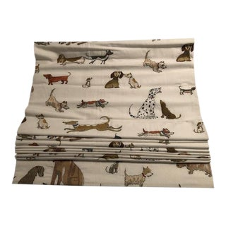 Blackout Lined Flat Roman Shades on Clutch Pulls in Chelsea Textiles Dogs Socializing Fabric - a Pair For Sale